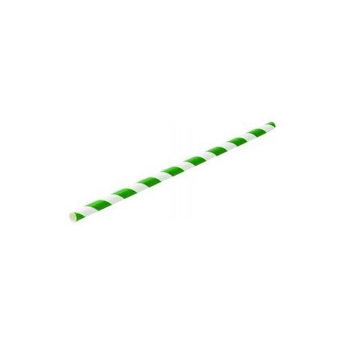 Pailles en papier vertes et blanches 6x200mm - Boîte de 250