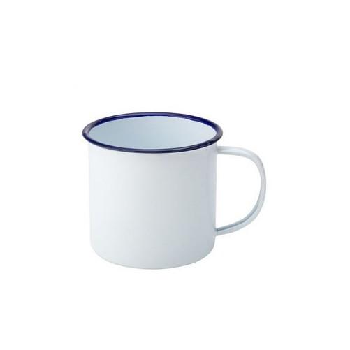 Mug émaillé blanc, bordure bleue 54 cl - EAGLE