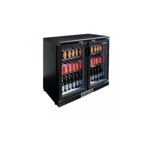 Arrière-bar - 2 portes coulissantes - 182 bouteilles Capacité 223 litres - Noir, portes coulissantes - Code article: VCRC2