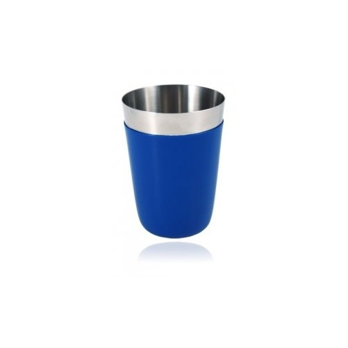 Shaker 16oz / 470ml avec gaine vinyle bleu Partie en inox secondaire non-lestée du boston shaker - Code article: CS016BLU