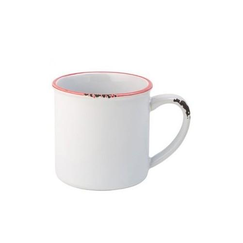 Mug Emaillé Blanc Bord Rouge 28cl - AVEBURY Vendu à l'unité - Code article: BARSOTOP537