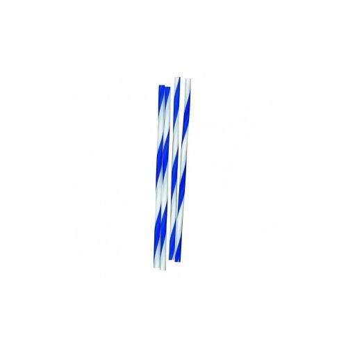 Pailles de bar plastiques striées bleu et blanc 6x10mm B500